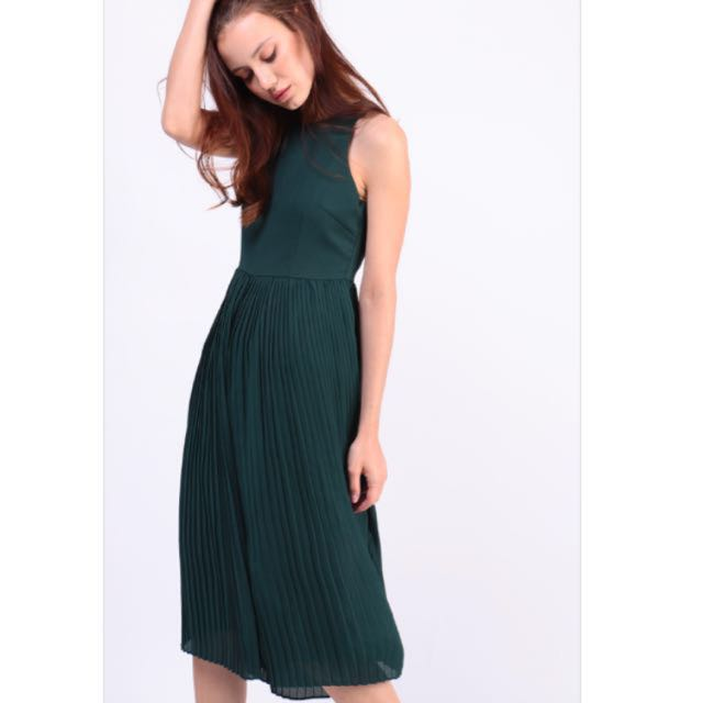 cc673cf15bf Dressabelle Contemporary Pleated Jumpsuit (Forest Green)