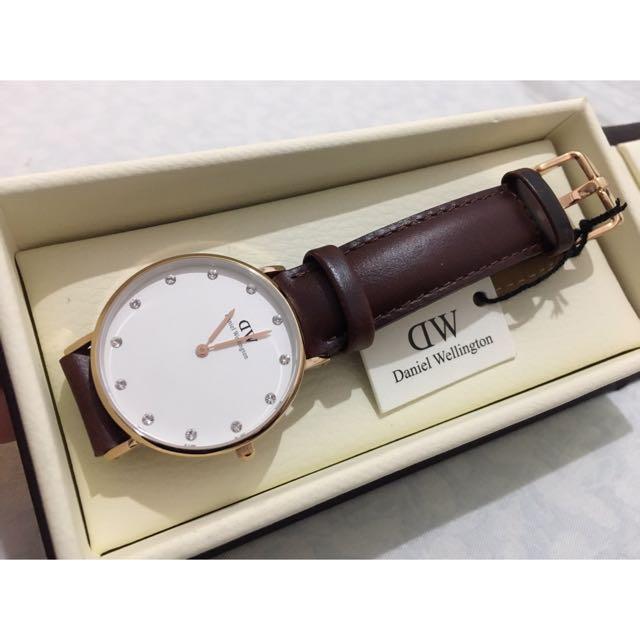 DW Daniel Wellington咖啡色皮革腕錶-玫瑰金框/34mm