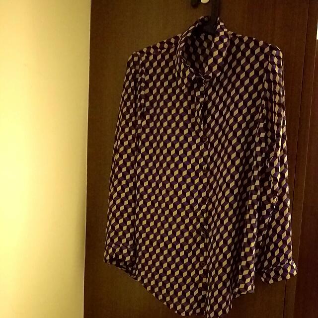 反復古幾合圖型雪紡襯衫F