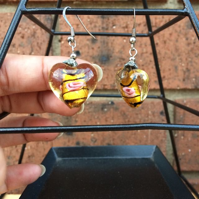 Glass Blown Tiger Heart Rose Earrings