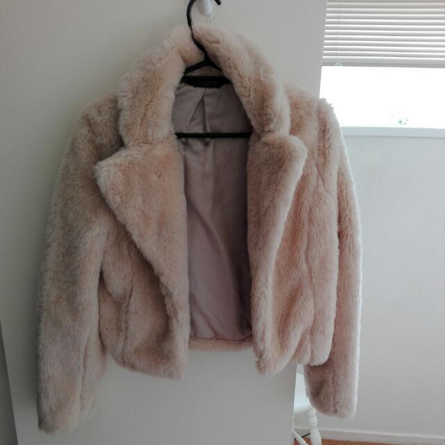 Glassons Light Pink Linned Fur Jacket
