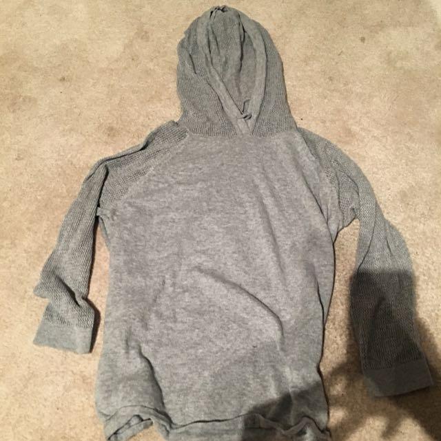 Grey sweater w/mesh sleeves & mesh hoodie