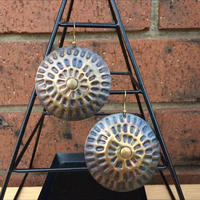 Hammered Bronze Tone Boho Disc Earrings
