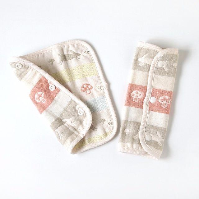 日本進口Hoppetta六重紗蘑菇動物雙面揹帶咬咬巾咬咬布  口水肩 Baby bib 飯衣