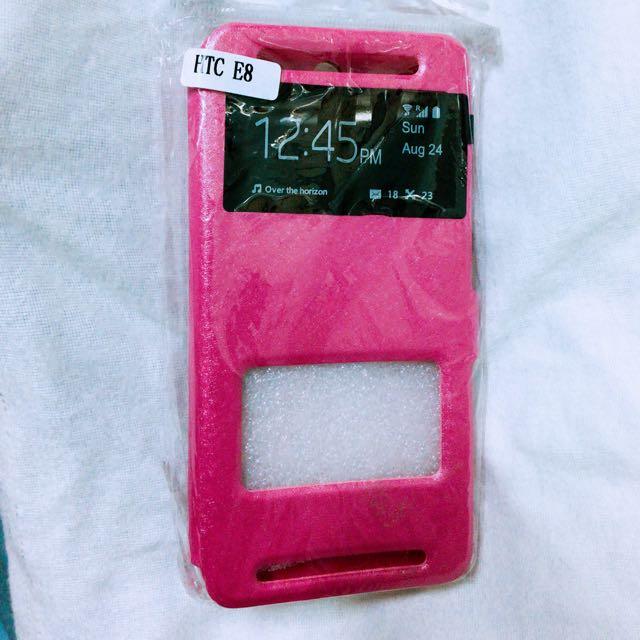 HTC E8 粉色翻蓋手機殼