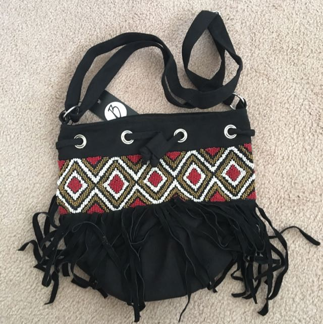 Isla Beaded Duffle Side Bag Red Festival Tassels
