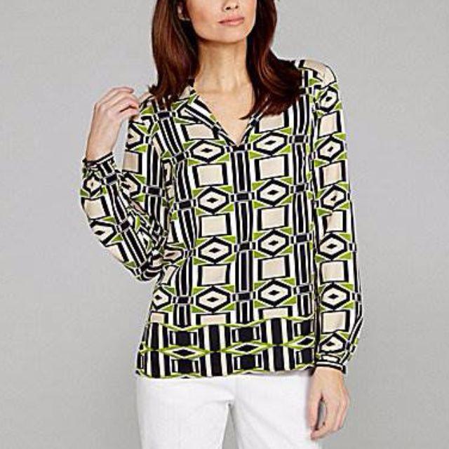 Jones New York Geometric-Print Blouse - Size 4P - 62% Off!!