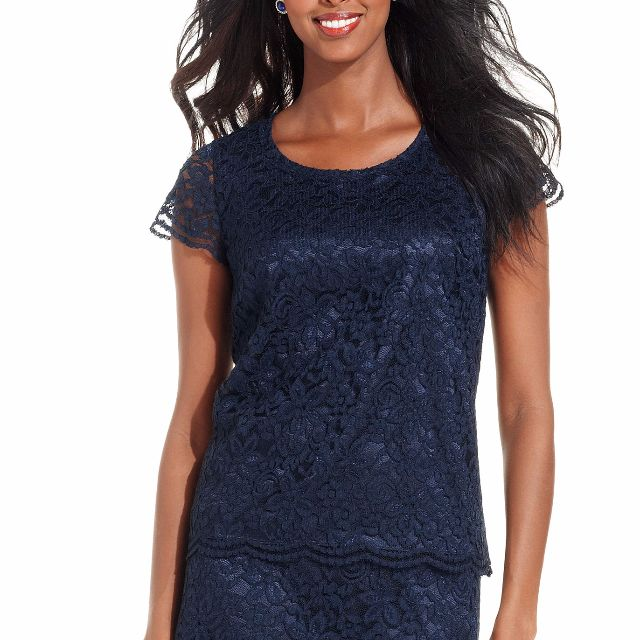 Jones New York Short-sleeve Lace Top - Size 16 - 52% Off!!