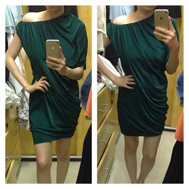 Karimadon Off Shoulder Cocktail Dress in Dark Green