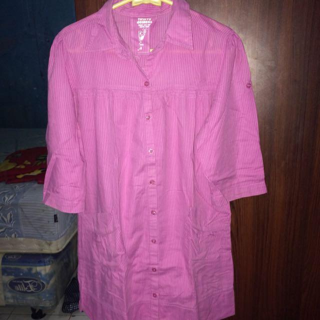 Kemeja Panjang Pink