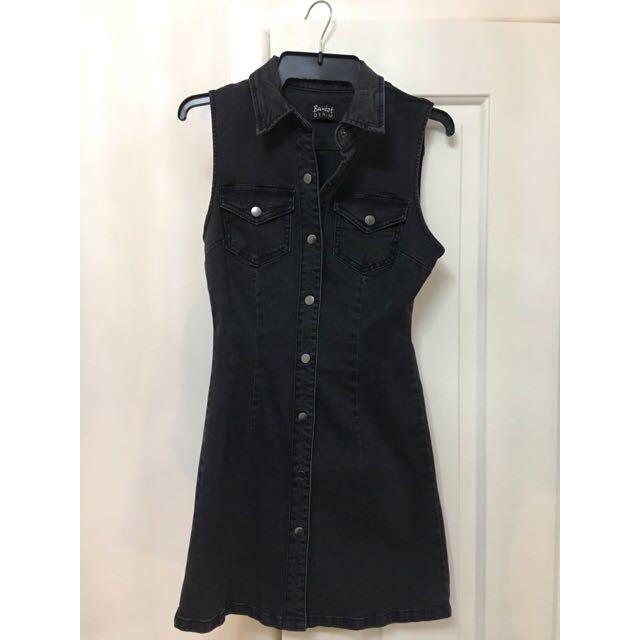 Kookai Black Denim Dress
