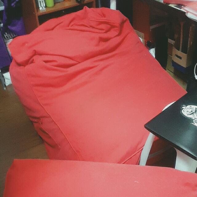 L型懶骨頭沙發(西瓜紅)