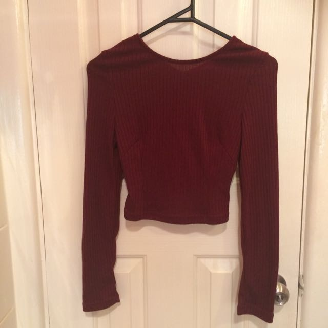 Loving Things Burgundy Cut Out Crop Top 8