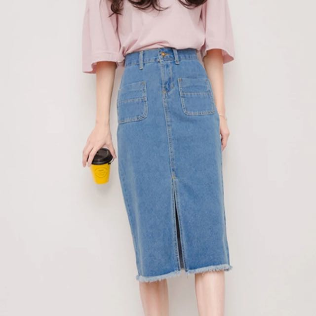 a0c90662b8e Midi Slit Front Denim Skirt