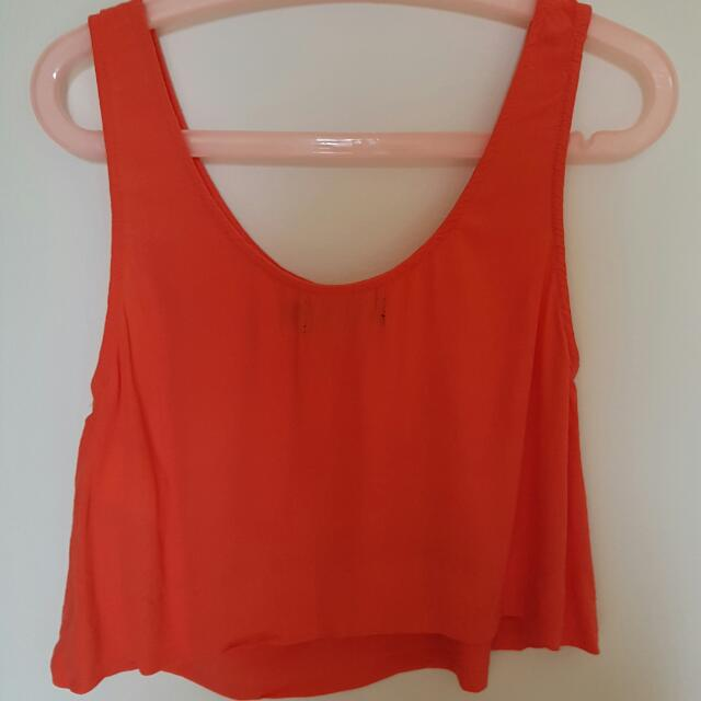 Minkpink Orange/Coral Cropped Tank