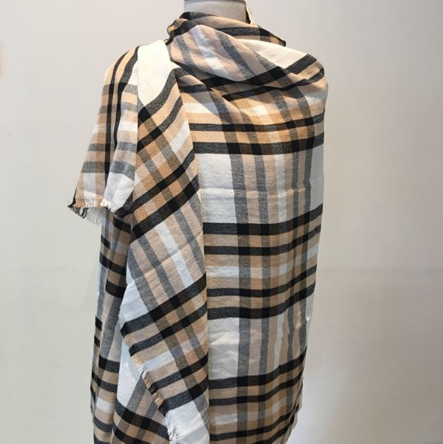 MNG Plaid Warm Scarf