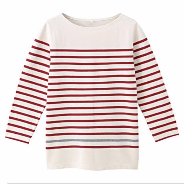 MUJI有機棉七分袖上衣—米色底紅條紋
