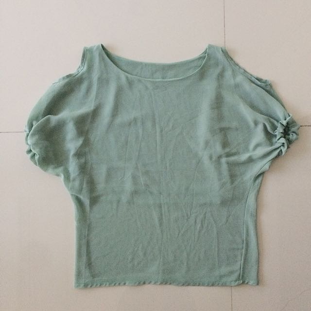 Pastel Sea Green Plain Blouse
