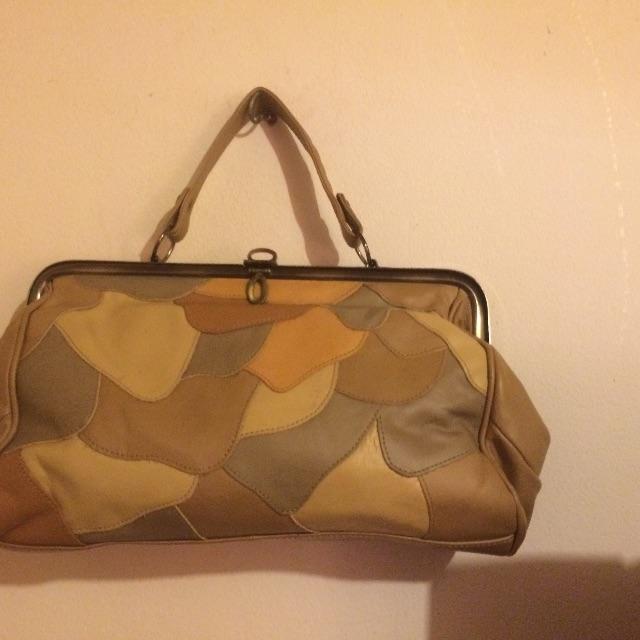 Patch Work Tan Vintage Ladies Genuwine Leather Handbag