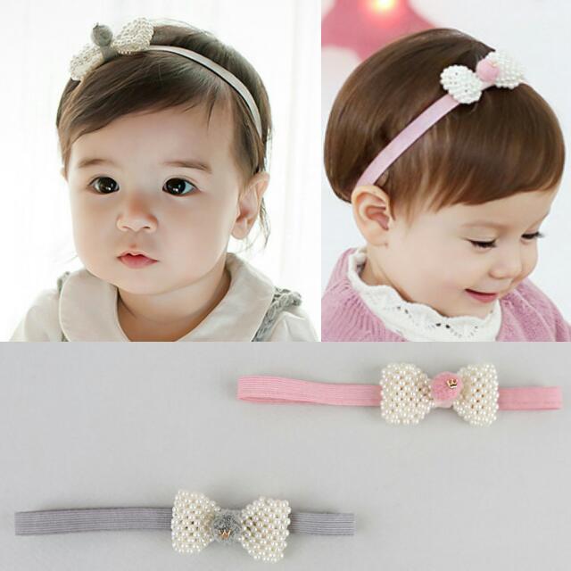 1f3823363 PEARL BOW Headband Girls Baby Infant Toddler Kids Chlidren. Hair ...