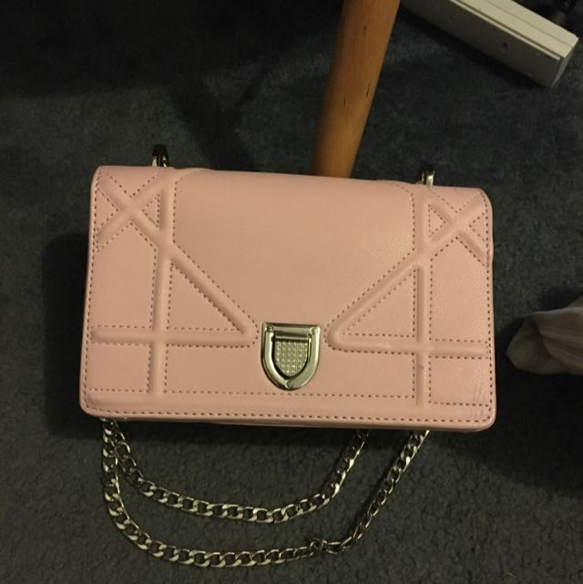 Pink Silver Chain Bag