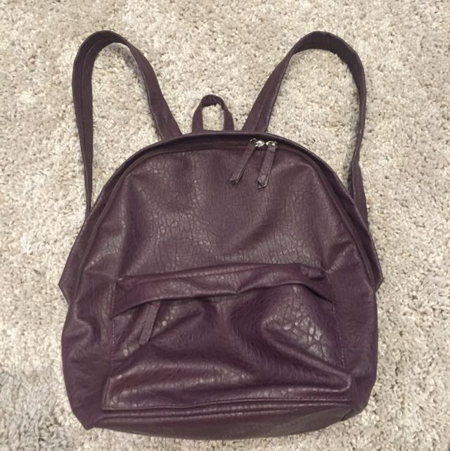 Purple Faux Leather Backpack