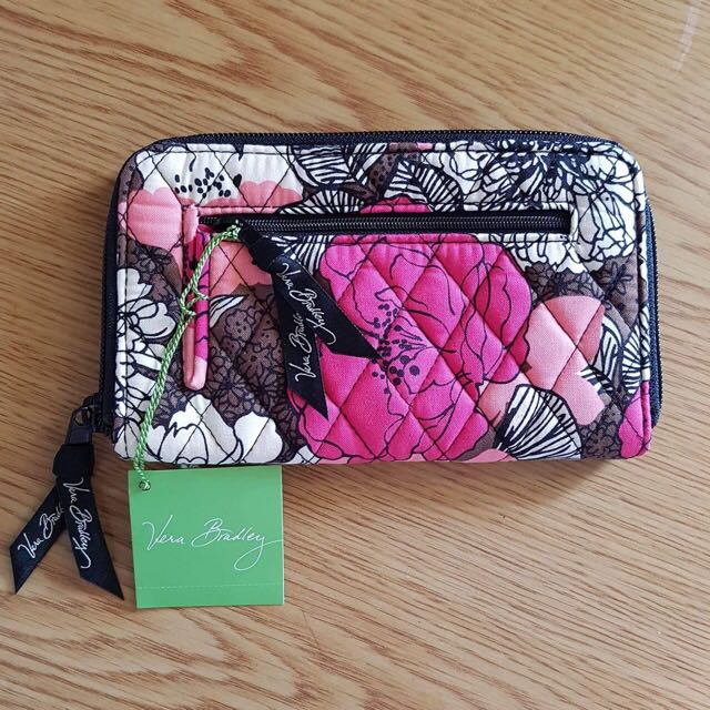 Vera Bradley Zip Around Wallet Wristlet, Mocha Rouge