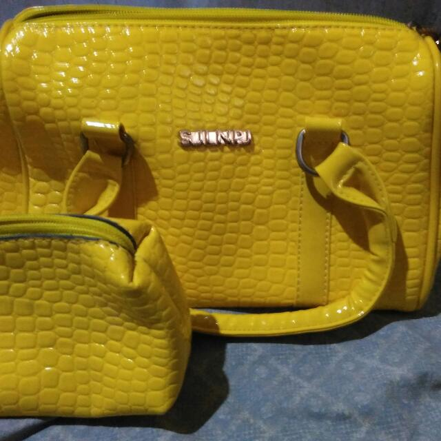 Yellow Bag With Pouch