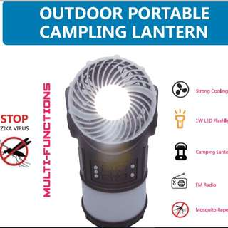 Multi Function Camping Lantern With Cooling Fan, FM radio & Mosquito Repelker
