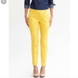 Banana Republic Celana Bawahan Bahan Warna Kuning