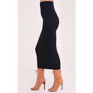 Fitted Stretchy Mid-Maxi Skirt