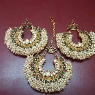 Pearl Earrings With Head Jewellery