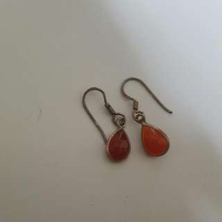 Red Gem Earings