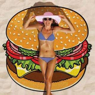Burger Beach Throw Towel
