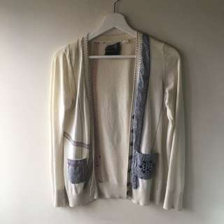 Cream Embroidered Cardigan