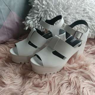 White Leather Sandals Size 39 Worn Once