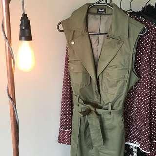 Bardot Dress Military