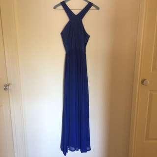 Formal Blue Open Back Halter Dress