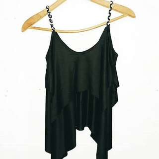Black Ruffled Sleeve less Top