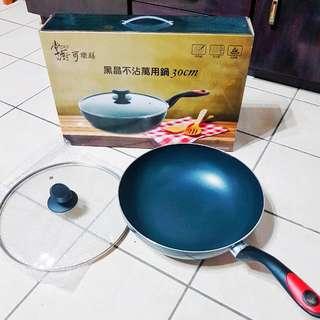 [近全新] 掌廚 可樂膳黑晶不沾萬用鍋 炒鍋 30cm (附鍋蓋)