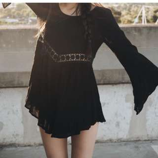 Black Bell Flare Sleeve Backless Playsuit