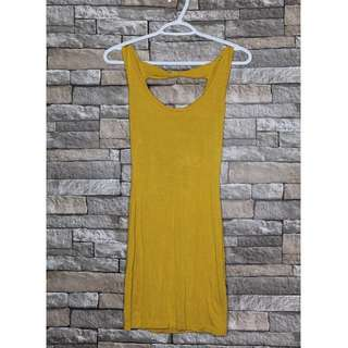 Mustard Colour Dress with Bow Tie Back