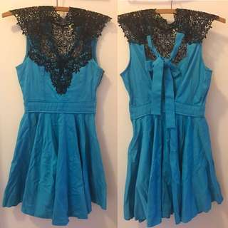 Blue And Black Lace Dress