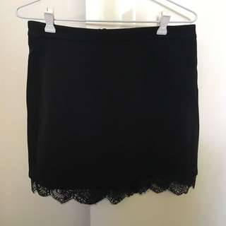 Black Mini Skirt With Lace