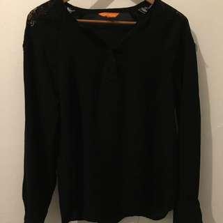 Black Blouse (lace Detailing On Shoulders)