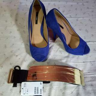 ladies  shoes size 6 color:blue Worn 3 times only