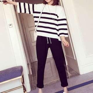 [全新] 日韓服飾 - 新款兩件套装寬鬆上衣+九分褲