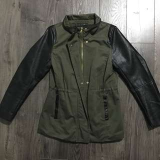 Army Green Leather Jacket Coat