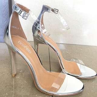 Clear Perspex Silver Heels
