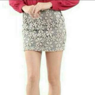 HVV Jasmine Floral Crochet Skirt In Pale Puce (L)